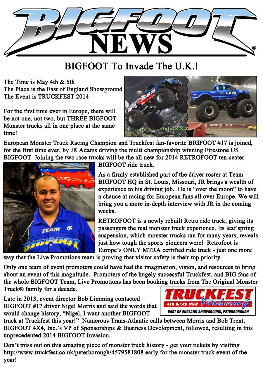 BIGFOOT To Invade UK