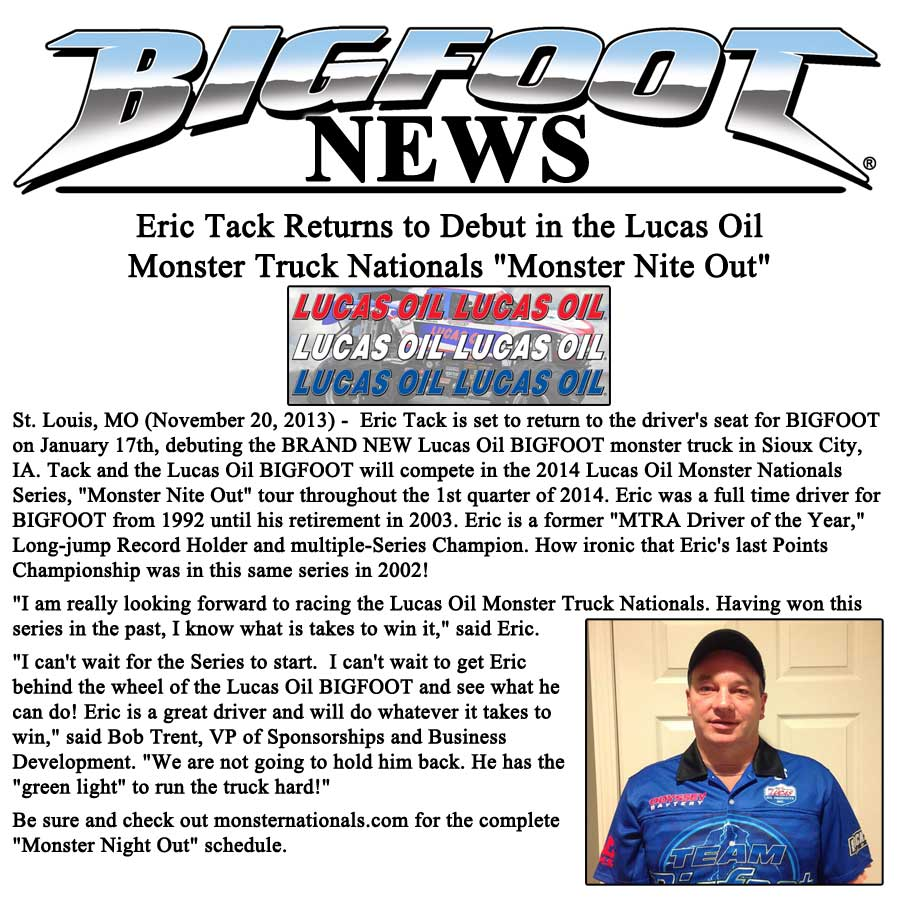 Eric Tack To Drive Lucas Oil BIGFOOT
