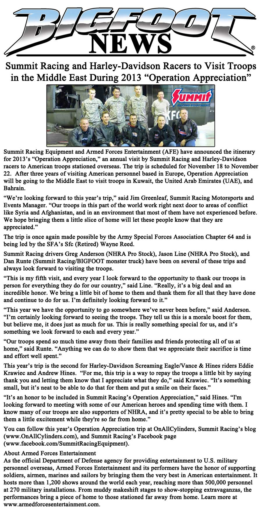 Summit and Harley Drivers To Visit Troops