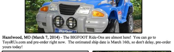 News – 2014 – Pre-Order A New BIGFOOT Ride-On At Toys R Us