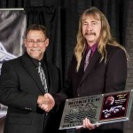 Andy accepting the award for his induction into the International Monster Truck Museum Hall Of Fame in 2014.