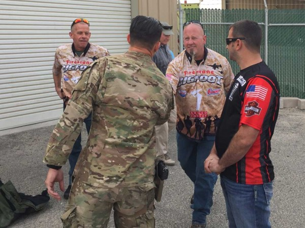 Larry Swim greets troops on his first Operation Appreciation trip with the Summit Racing sponsored Armed Forces Entertainment trip overseas.