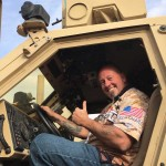 Larry looks right at home in the drivers seat of the heavy-duty MAT-V at Al Jaber Air Based in Kuwait.
