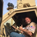 Summit Racing BIGFOOT 4x4 driver Larry Swim settled into the cab of a different kind of monster while on the Operation Appreciation tour to visit troops on deployment in the Middle East.